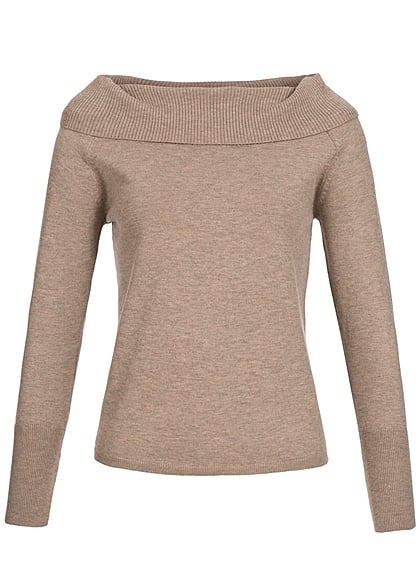 ONLY Damen Strick Pullover Off Shoulder weiter Rollkragen Rippbündchen stucco beige