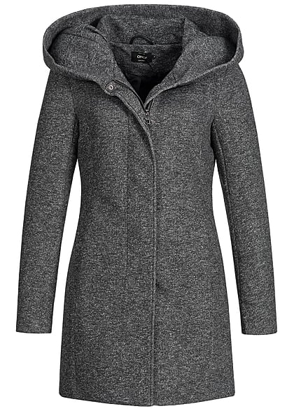 ONLY Damen NOOS Coatigan Jacke 2-Pockets Kapuze dunkel grau melange
