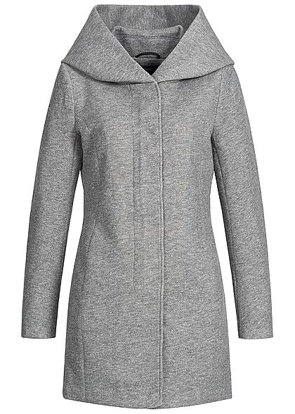 ONLY Damen NOOS Coatigan Jacke 2-Pockets Kapuze hell grau melange