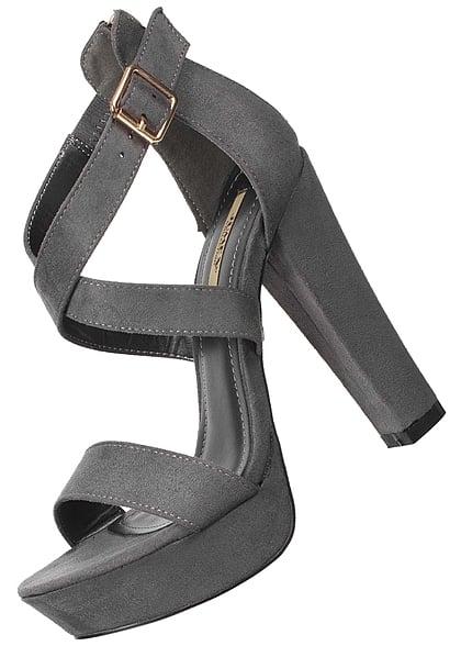 buy online 39386 cafda Seventyseven Lifestyle Schuh Damen Plateau High Heels Absatz 13cm Zipper  grau