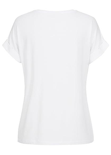 ONLY Damen NOOS Solid T-Shirt mit Ärmelumschlag weiss
