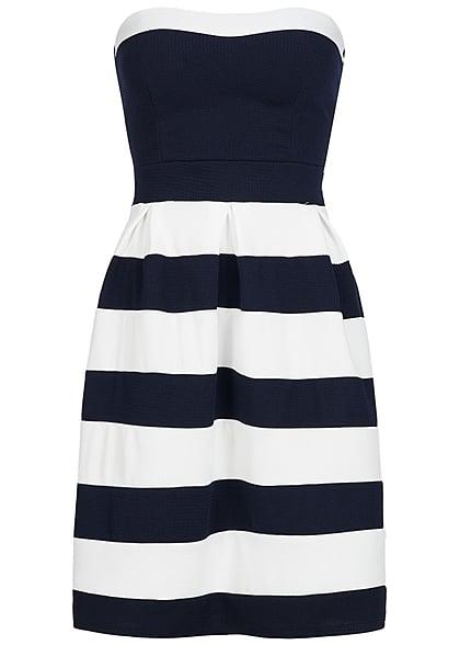 920a57929f5a Styleboom Fashion Damen Mini Bandeau Kleid gestreift Brustpads navy blau  weiss - 77onlineshop
