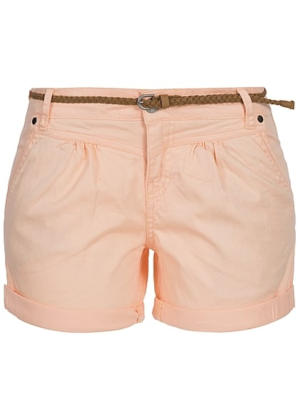Eight2Nine Damen Short mit Gürtel 4 Taschen 1 Knopf by Sublevel peach orange