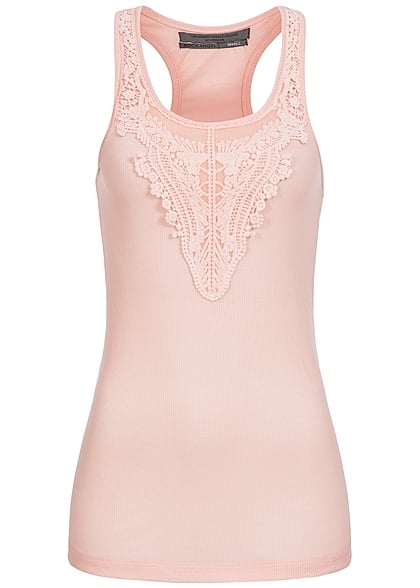 Eight2Nine Damen Tank Top gestickte Spitze vorne gerippt by Rock Angel blush rosa