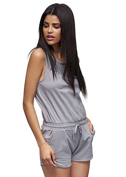 Eight2Nine Damen Jumpsuit Gummizug Passe vorne hinten Knopf by Sublevel shark grau