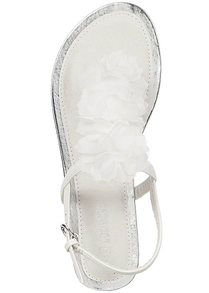 Hailys Damen Toe Post Flower Tulle Sandals off weiss silber