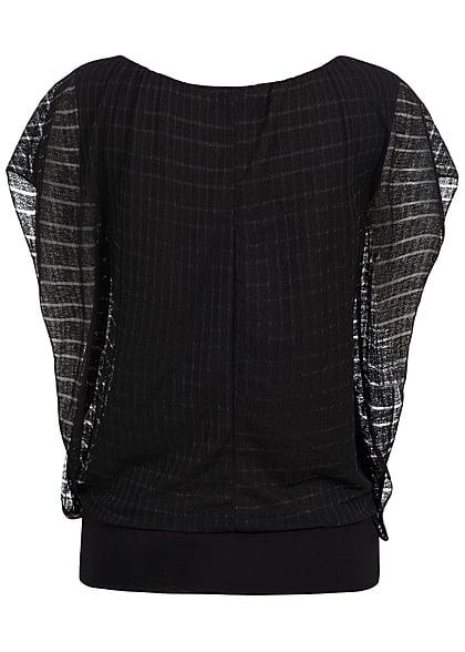 Styleboom Fashion Damen Top 2-lagig Fledermausärmel breiter Bund schwarz