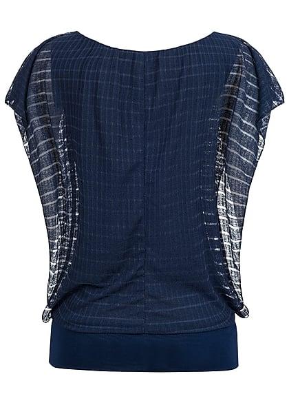Styleboom Fashion Damen Top 2-lagig Fledermausärmel breiter Bund navy dunkel blau