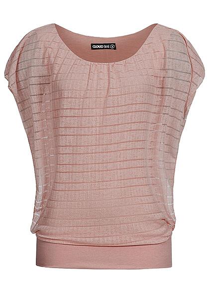 Styleboom Fashion Damen Top 2-lagig Fledermausärmel breiter Bund rosa