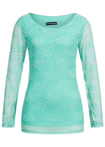 Styleboom Fashion Damen Longsleeve 2-lagig Spitze Allover mint grün