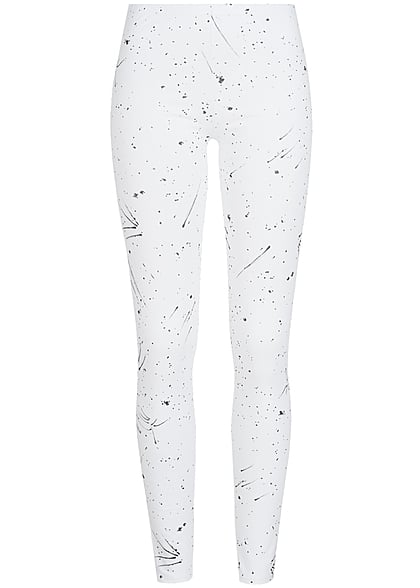 Styleboom Fashion Damen Leggings Farbklecks Print Gummibund weiss schwarz