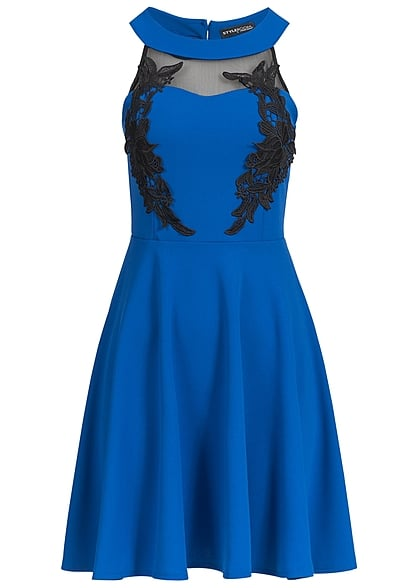 Styleboom Fashion Damen Mini Kleid Häkeleinsatz Brustpads Florales Muster royal blau