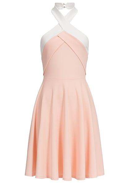 designer fashion 8add3 993f4 Styleboom Fashion Damen Mini Neckholder Kleid Gummizug hinten rosa weiss