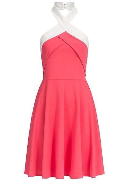 Styleboom Fashion Damen Mini Neckholder Kleid Gummizug hinten coral ...