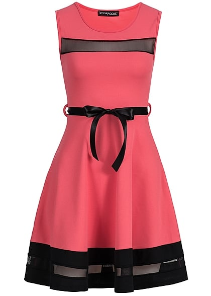 Styleboom Fashion Damen Mini Kleid teils transp Bindeband coral pink