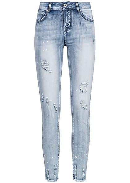81ca53bd009f67 Seventyseven Lifestyle Hose Damen Jeans Flecken Muster Detroy Look hell blau  denim - 77onlineshop