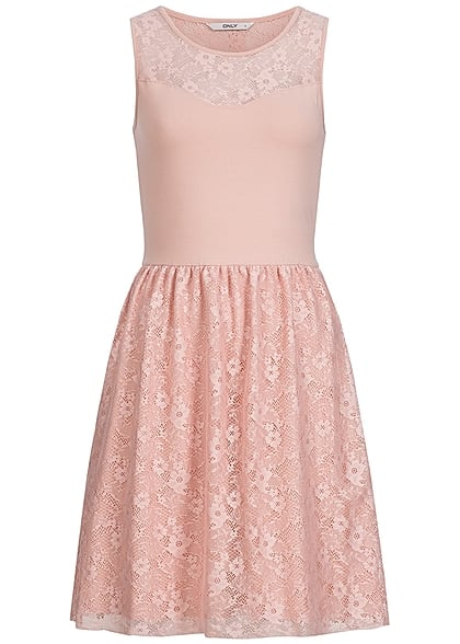 ONLY Damen Midi Kleid 2-lagig Spitze peach whip rosa - 77onlineshop