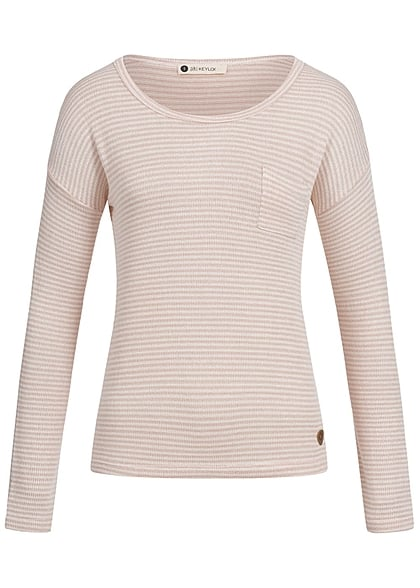 Aiki Damen Sweater gestreift Brusttasche rosa