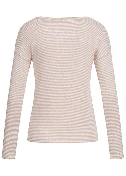 Aiki Damen Strickpullover Longsleeve Streifen Muster kleine Brusttasche rosa weiss