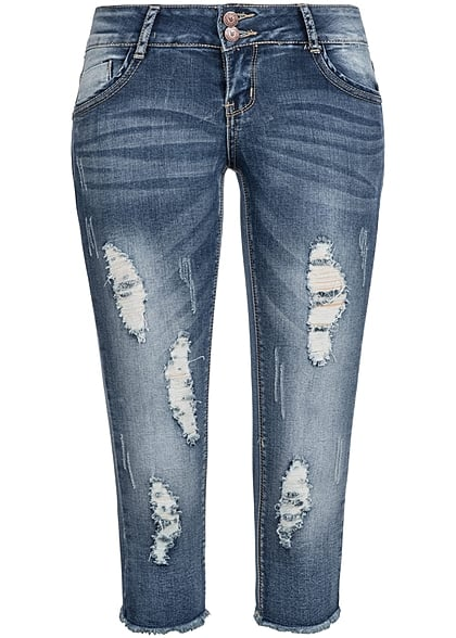Aiki Damen Capri Jeans Short 5-Pockets Destroy Look medium blau denim