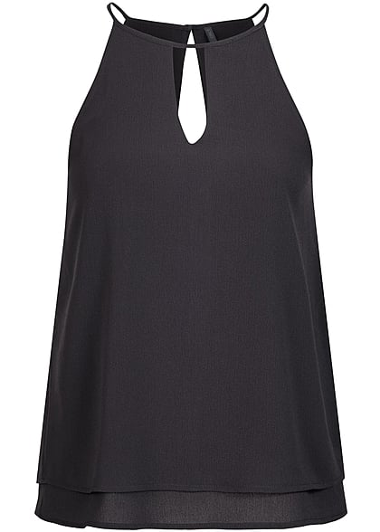 ONLY Damen 2-Layer Chiffon Top NOOS schwarz
