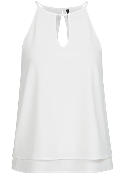 ONLY Damen 2-Layer Chiffon Top NOOS cloud dancer weiss