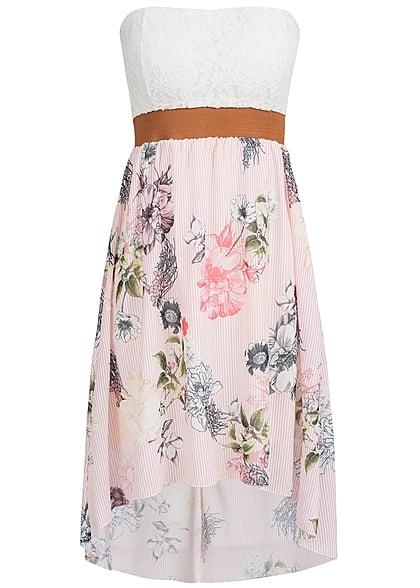 Styleboom Fashion Damen Mini Bandeau Kleid Blumen Muster Spitze ...