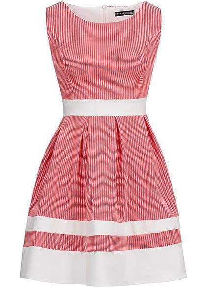 Styleboom Fashion Damen Mini Kleid Zipper hinten Karo Muster coral pink