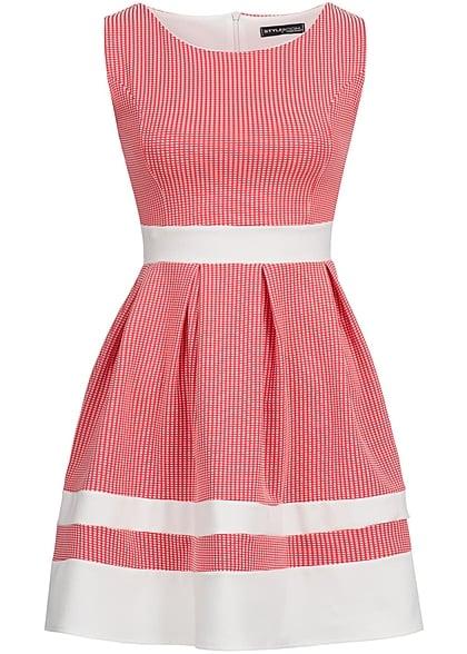 33a4ef42231 Styleboom Fashion Damen Mini Kleid Zipper hinten Karo Muster coral pink -  77onlineshop