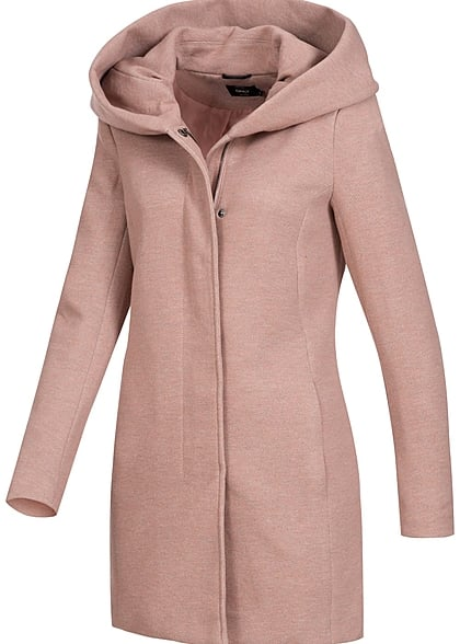 ONLY Damen NOOS Coatigan 2-Pockets Kapuze mocha mouss rosa