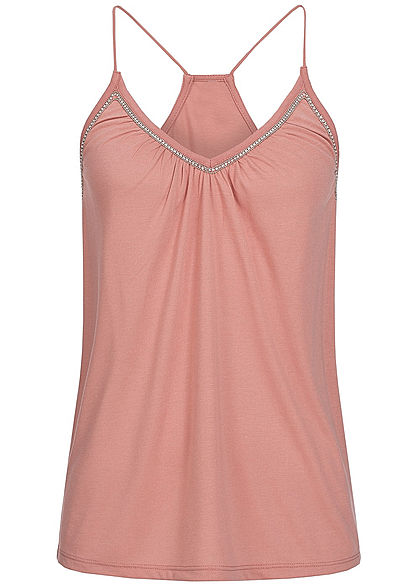 Styleboom Fashion Damen Top lockerer Schnitt Strasssteine rose