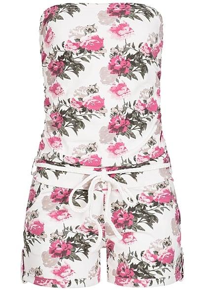 Eight2Nine Damen Bandeau Jumpsuit 2 Taschen Blumen Print by Sublevel off  weiss - 77onlineshop 857d624a4d