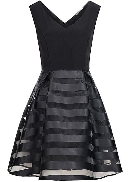 9526f1f3eb ONLY Damen Mini Kleid 2-lagig V-Ausschnitt weit ausgestellt gestreift  schwarz - 77onlineshop