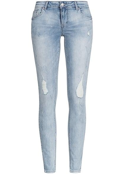 3935a0f9b9cd1a ONLY Damen Jeans Hose Regular Waist 4-Pockets Destroy Look NOOS hell blau  denim