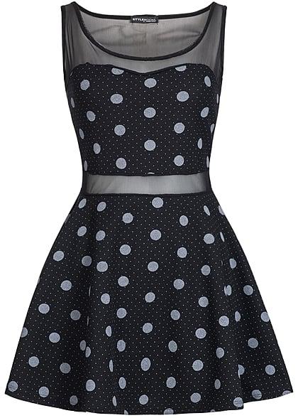 505c81189fd7 Styleboom Fashion Damen Mini Kleid Netz Optik Punkte Muster schwarz weiss -  77onlineshop
