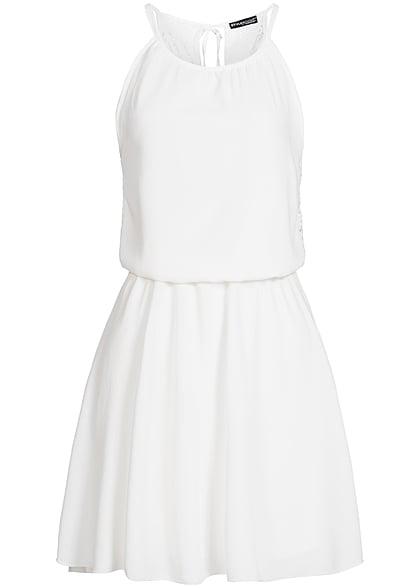 low priced 12d40 97f97 Styleboom Fashion Damen Midi Kleid Spitze hinten Taille Gummizug weiss