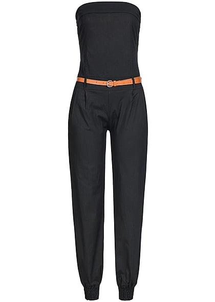 Styleboom Fashion Damen Bandeau Jumpsuit mit Gürtel 2 Taschen schwarz -  77onlineshop 9379be345b