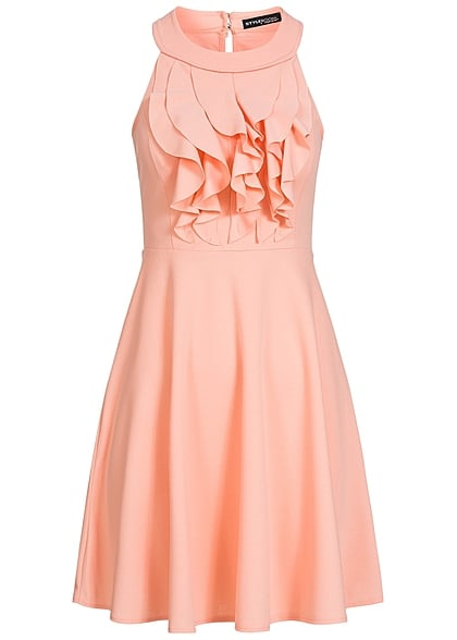 Styleboom Fashion Damen Mini Kleid Brustpads vorne volant look rosa