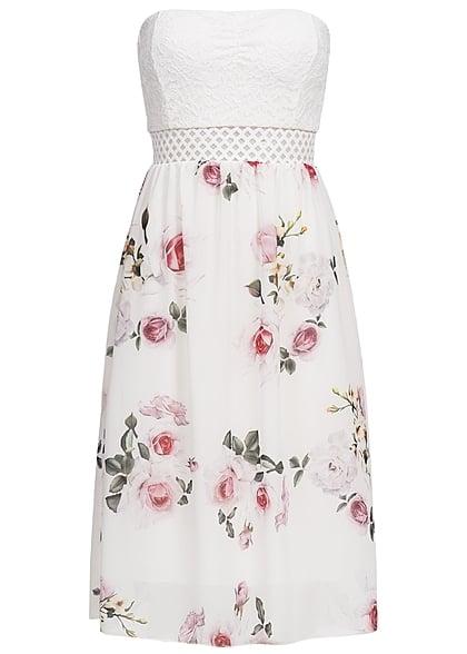 Styleboom Fashion Damen Midi Bandeau Kleid Blumen Muster Brustpads ...