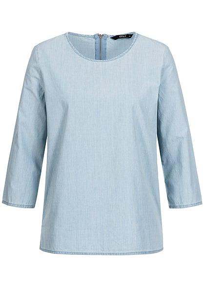 ONLY Damen Jeans Bluse hell blau denim - 77onlineshop 9954ffe85d