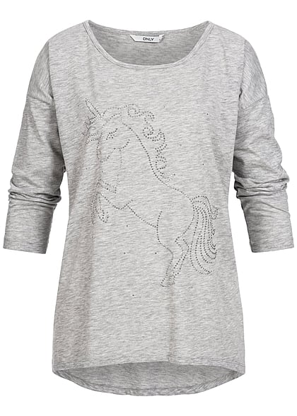 ONLY Damen Sweater Einhorn hell grau melange