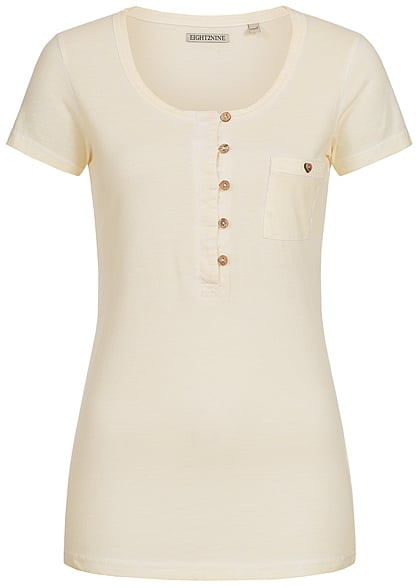df71d4ff8739df Eight2Nine Damen T-Shirt Knopfleiste Brusttasche creamy gelb - 77onlineshop