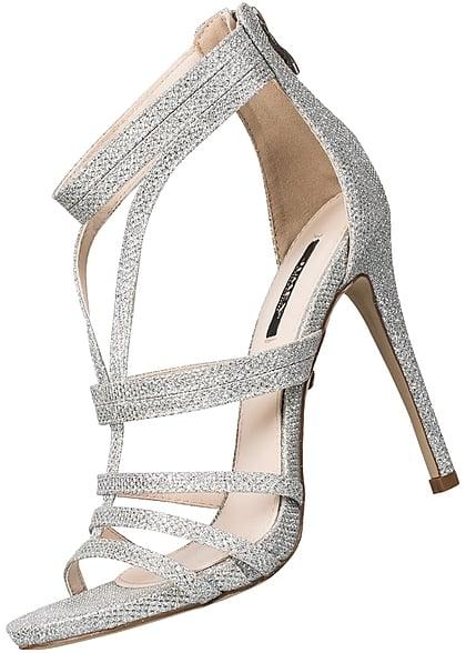 hot sales abfeb 700a9 Seventyseven Lifestyle Schuh Damen Stiletto Sandalette Absatz 12cm Glitzer  silber