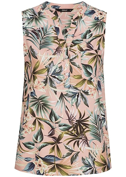 ONLY Damen Top Tropical Print Brusttasche Knopfleiste rose dust rosa