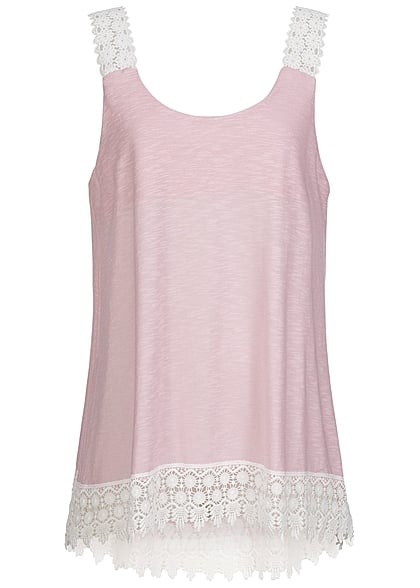 Styleboom Fashion Damen Top Häkelsaum rosa