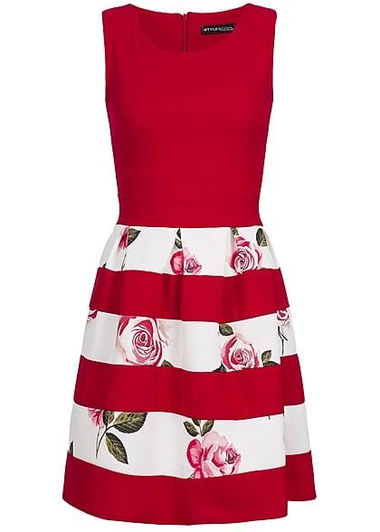 Styleboom Fashion Damen Mini Kleid Zipper Hinten Blumen Muster