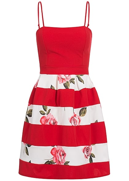 info for ab09e 0de8c Styleboom Fashion Damen Kleid Rosen Print rot weiss