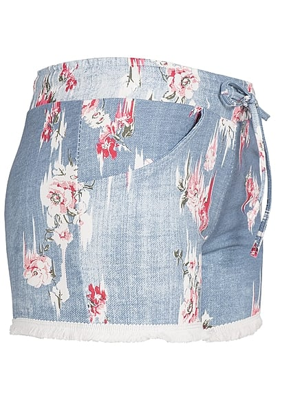 Styleboom Fashion Damen Short Rosen Muster blau
