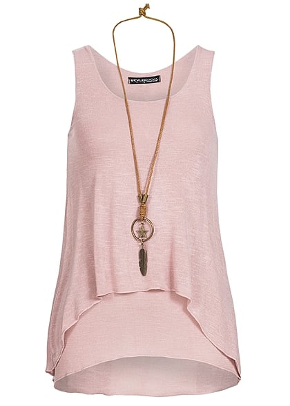 Styleboom Fashion Damen Top 2-lagig Kette rosa