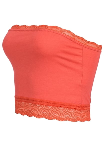 Styleboom Fashion Damen Bandeau Top Spitze coral rot